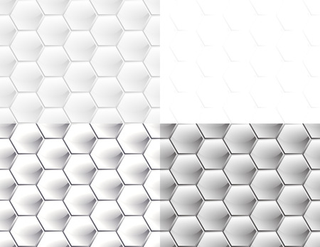 Set of four seamless patterns with white convex hexagons with a glossy and a matte finish similar to honeycomb, simulating different materials Illusztráció