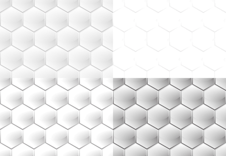 Set of four seamless patterns in the form of vertical white convex hexagons with a glossy and a matte finish similar to honeycomb Stock fotó - 91353824