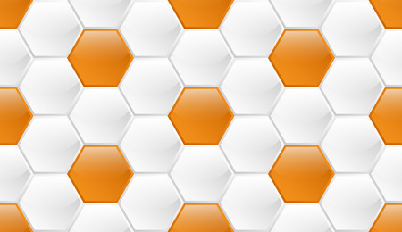 White with orange accents glossy seamless pattern of hexagons similar to honeycombs with coloring in the form of field chamomile