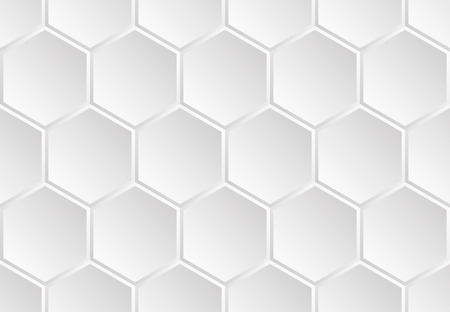 White enameled metal seamless pattern of the hexagonal vertically aligned concave plates look like a honeycomb or futuristic armor