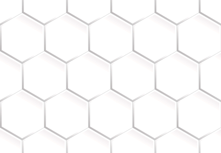 White seamless pattern of the hexagonal vertically aligned concave plates that look like a honeycomb or the tiles Illustration