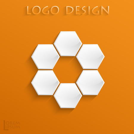 Logo on orange background of white convex hexagons with a glossy surface and a chamfer, without Central element. 免版税图像 - 91758832