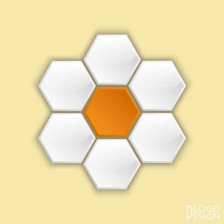 Logo on yellow background from convex white hexagons with a glossy surface and a facet, with orange concave Central element composed of a circle in the form of a Daisy flower.
