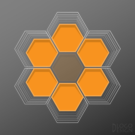 The logo on a dark background built from hexagons in flat style, framed by light contours, creating the effect of surround of the tunnel, with the top view. Inscription of Logo Design in the corner.