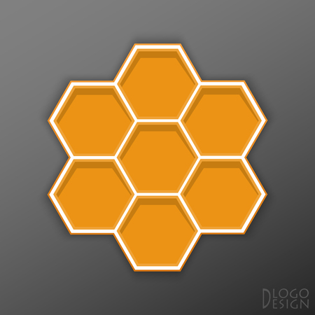 The logo on a dark background of orange hexagons in flat style with white edging, structured like honeycomb, with volumetric shadow, and the words of Logo Design in the corner