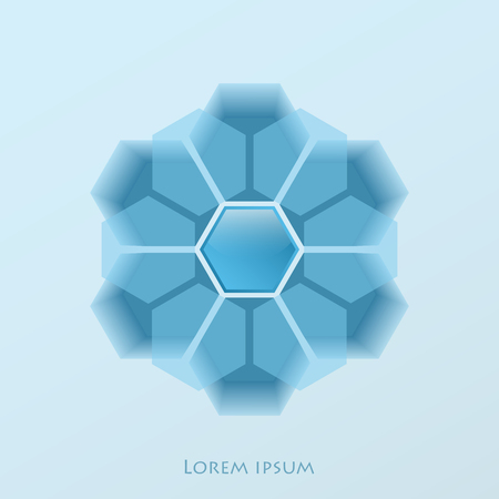 Logo in shades of blue in the form of a ball assembled from the crossing of several translucent hexagonal elements similar to gears. Top view of the stadium with snowflake in the foreground. For winter sports and games Illustration