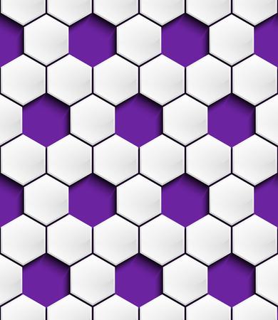 Het geperforeerde driedimensionale geometrische naadloze patroon in de vorm van convexe witte zeshoeken om een ??schaduw op een paarse achtergrond te schaven