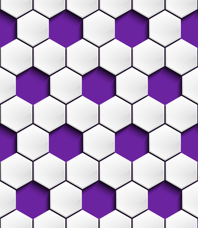 The perforated three-dimensional geometric seamless pattern in the form of a convex white hexagons to slash a shadow on a purple background Illustration