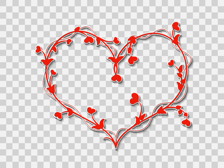 Decorative ornament in the form of a stylized heart braided red branches with leaves and red little hearts instead of flowers on a transparent background, for design, greetings, postcards and logos for a party in honor of Valentine's day