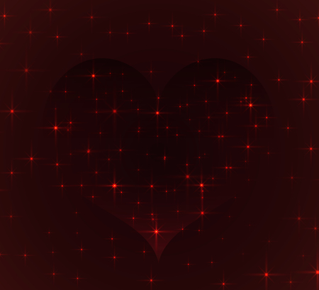 Gravitational anomaly in the shape of hearts with parallax effect, distorting the space is filled with bright stars on a dark red background. A stylized image for your design on the theme of Valentines day