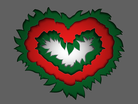 Strange multi-layered Valentines day card in the style of material design, depicting some of the contours of the green and red colors imitating the leaves and buds of roses cut from paper. Vector illusion moving away from you image