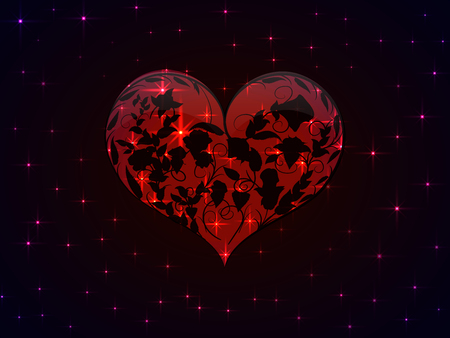 Bright Valentine is depicted as a glowing red heart with a pattern of interwoven black outlines of the branches of roses with leaves and buds inside it and all this against a dark night sky with sparkling bright stars