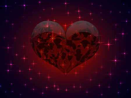 Unusual Valentine is depicted in the form of translucent glass red heart with a pattern of interwoven black outlines of the branches of roses with leaves and buds inside it and all this against the background of the night ultra purple sky with sparkling bright stars