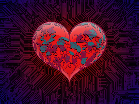 Surround glowing glass red heart with interwoven leaves and branches and flowers of roses, connected to the computer circuit Board tracks under ultraviolet light. For custom design combines the technical elements and the theme of Valentines day Ilustração