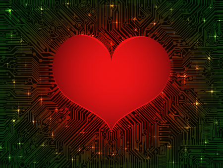 Matte glowing red heart computer integrated circuit Board with green tracks. Design combines the technical elements and the theme of Valentines day Ilustração
