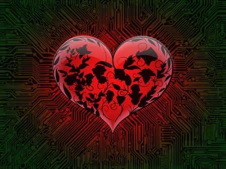 Surround glowing glass red heart with the contours of intertwined leaves and flowers of roses on the background of a computer circuit Board with green tracks. Design combines the technical elements and the theme of Valentines day