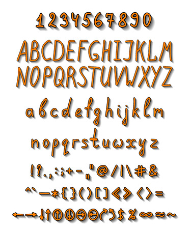 Bright handwritten font with a full set of capital and lowercase letters, numbers and punctuation marks, as well as additional elements depicted in orange with a black border and shadow with the effect of volume.