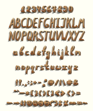 Beige brown shiny three-dimensional font with chamfer and shadow and reflection, as well as a full set of capital and lowercase letters, numbers and punctuation marks, as well as additional elements