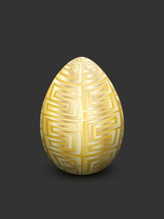 Easter Golden egg with Egyptian ornament as a decoration on a dark background.
