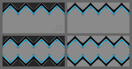 Set of abstract zigzag patterns in black and blue on gray background. Illustration