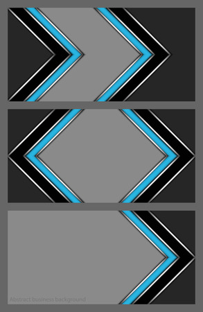 Set of abstract zigzag patterns in colors blue and black with silver lining.