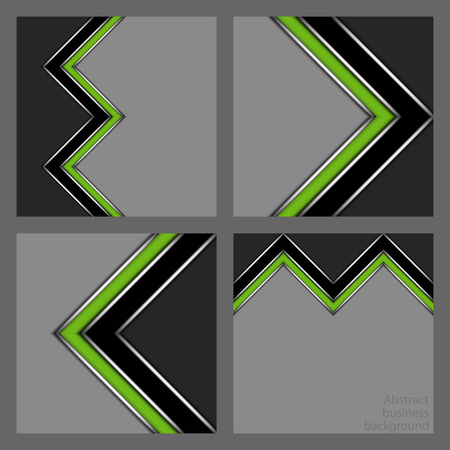 Collection of abstract geometric business patterns from stylized green corner stripes on grey background
