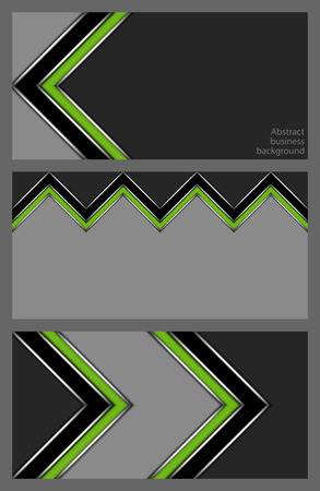 Set of abstract geometric business card designs with stylized green stripes in the shape of a jagged wall on a gray background