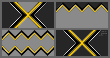 Collection of abstract geometric business cards with yellow and black zig-zag stripe and cross on a gray background