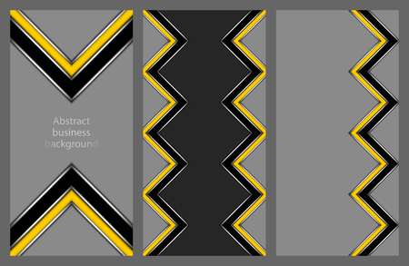 Collection of abstract geometric leaflets with yellow and black strip in the form of a zigzag and multidirectional pointers on a grey background Illustration