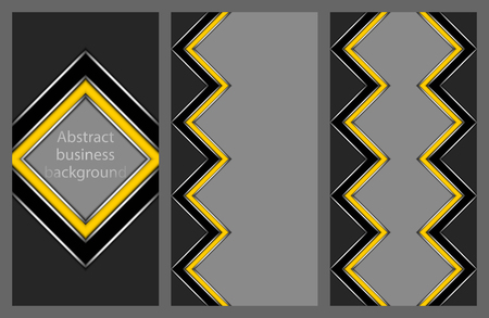 Collection of abstract geometric flyers with a yellow and black stripe in the shape of zigzags and diamonds on a gray background