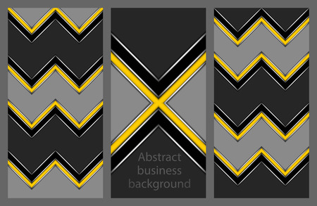 Collection of abstract geometric leaflets with yellow and black strip in the form of zigzags and crosses on a grey background