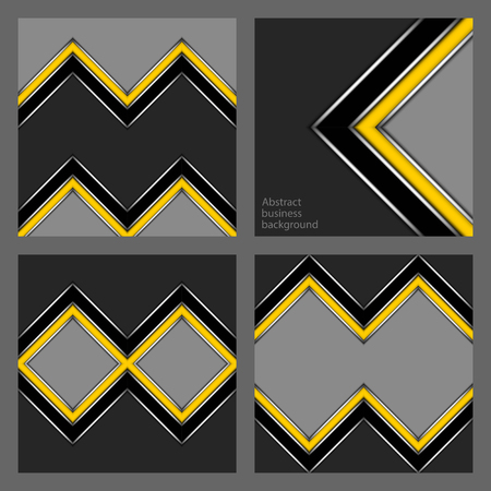 Set of abstract geometric business backgrounds, square shape with yellow and black stripe in corners and rhombuses on grey background Ilustração