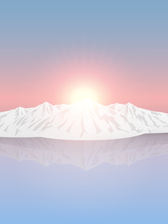 Vector landscape depicting snow-capped mountains in the background of the rising sun and the pink sky reflected in a clean and smooth surface of the ice