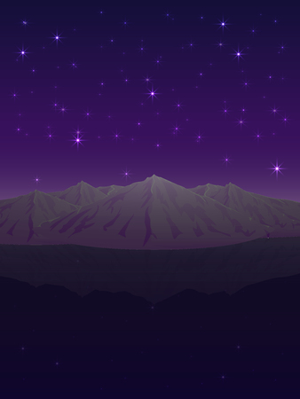Vector night landscape depicting snow-capped mountains reflected in the clear and smooth surface of the ice under the ultraviolet sky dotted with sparkling stars Çizim