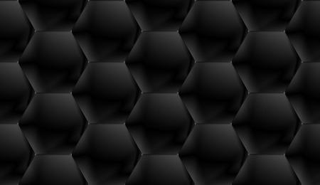Black seamless pattern of voluminous shiny hexagonal tiles