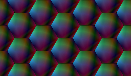 Bright seamless pattern of three-dimensional shiny hexagonal tiles with hologram effect