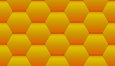 Geometric seamless pattern of yellow hexagonal tiles with tile effect