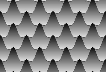 Schwarzes weißes nahtloses Vektormuster der gewellten Fliesen Illustration des Meeres mit starken Wellen oder Höhlen mit Stalaktiten