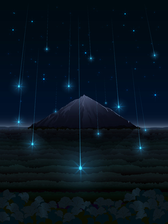 A fantasy illustration of a night landscape with falling bright stars in a forest valley in front of a lonely mountain in the night sky full of constellations