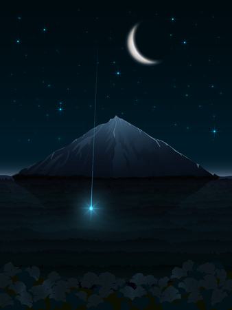 A fantasy illustration of a night landscape with a shooting star in front of a lonely mountain under a full bright moon in a turquoise sky full of constellations Illustration