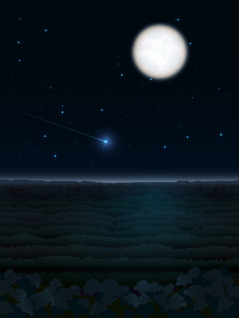 Illustration of a night landscape with a bright full moon and passing comet on the dark background of the sky and the forest beneath them