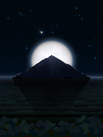 A fantasy illustration of a night landscape with a giant mountain in a forest valley and a huge full moon hiding behind it against a dark sky dotted with bright stars and a comet flying by Ilustração