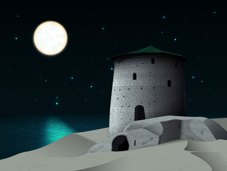 Night landscape with restored tower and old ruined castle walls on the sea shore, against the starry sky with bright full moon and moonlight on the sea waves in calm Ilustrace