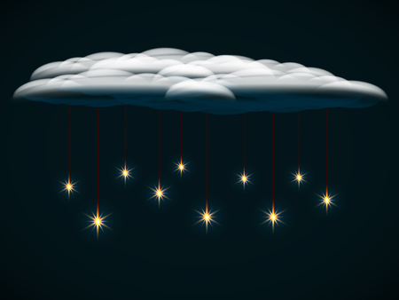 Bright glowing stars on a dark background, suspended on threads on a cloud Illustration