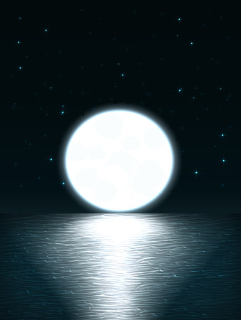 Vector night landscape with a view of the sea with waves and night sky with the constellations and bright huge moon that sinks beyond the horizon and the moon path on the water