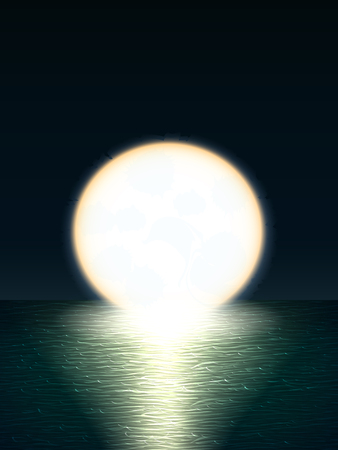 Vector night landscape with turquoise sea view with waves and night sky and bright huge yellow moon that sinks behind the horizon and moonlight path on the water Ilustração