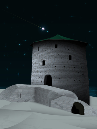 Night landscape with the old tower with a green roof and a ruined fortress on a sandy beach, on the background of the starry sky with a bright falling star