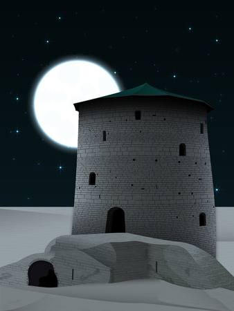 A night landscape with an old tower in opposite light and a ruined fortress in the desert, against a starry sky with a bright giant moon hiding behind the tower Ilustração