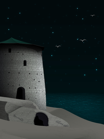 Night landscape with ancient tower and dilapidated walls of the fortress on a sandy desert beach, against a dark starry sky with bright constellations and birds flying to the shore