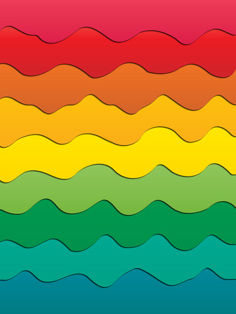 Bright cartoon vector multilayer 3D background of wavy lines of rainbow colors. Material design